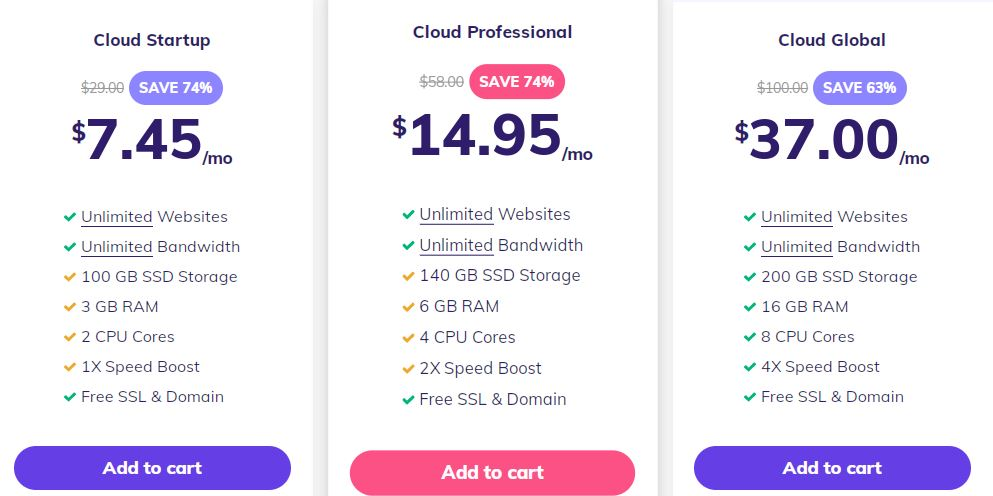 Hostinger cloud hosting pricing